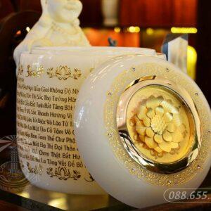 Hũ đựng tro cốt Ngọc Lưu Ly trắng điêu khắc 3D NN017